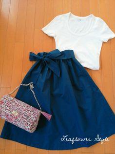 ミモレ丈のリボンスカート☆ハンドメイド |Leaflowerの洋裁 毎日着る上品なワンピースやスカートを作ってます ハンドメイド教室 Leaflower LIVING大阪 ツイードバック