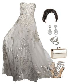 A fashion look from April 2016 featuring silver sandals, gold clutches and dangle earrings. Royal Clothing, Zuhair Murad, Sergio Rossi, All White, Formal Gowns, Dream Dress, Dress Ideas, Jimmy Choo, Evening Gowns
