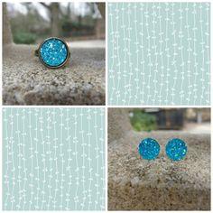 Druzy Earrings  Druzy Ring  Aqua Druzy Set  by SouthernStitchesCo