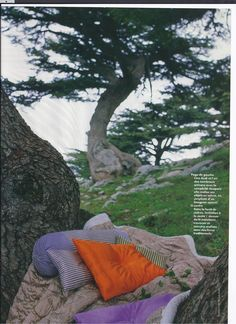 Lina Audi for Liwan cushions and quilts in french Elle 1998 design editor Francoise Ayxendrie Showcase Design, Outdoor Furniture, Outdoor Decor, Hammock, Editor, Audi, Cushions, French, Paris