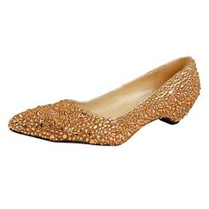 Royal Gold Glitter Over Rhinestone Low Heels