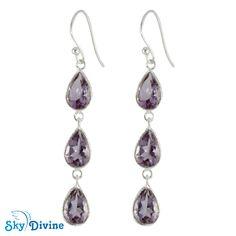 925 Sterling Silver amethyst Earring | Sky Divine Jewelry, $41.44