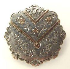 Victorian Silver & 9ct Gold Brooch Pin LOCKET 1889