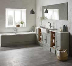 Grey Bathroom Cabinets, Grey Bathrooms, Roper Rhodes, Timeless Bathroom, Clock Repair, Bathroom Showrooms, Bathroom Images, Bathroom Ideas, Pebble Grey