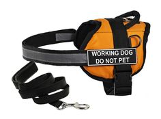 Dean and Tyler's DT Works Orange 'WORKING DOG DO NOT PET' Harness, Medium, with 6 ft Padded Puppy Leash. * Click image for more details. (This is an affiliate link and I receive a commission for the sales)