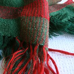 Handwoven Stole in Green and Red by Akkord on Etsy