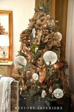 burlap trees   burlap bows CHRISTMAS TREE / christmas xmas ideas - Juxtapost