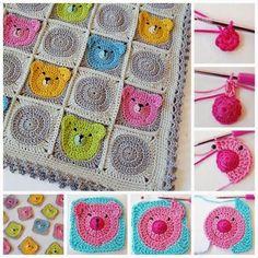 coperta faccia d'orso | Hobby lavori femminili - ricamo - uncinetto - maglia