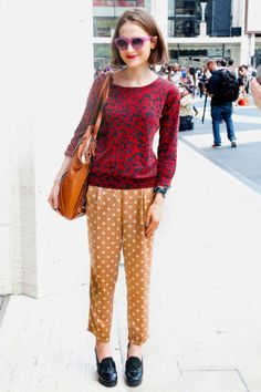 NYFW Street Style, mixing and matching printed pants with other prints.