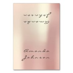 Pearly Blush Peach Pink Gold Personalized Name Table Card