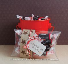 """""""You're on a roll"""" Tootsie Roll clear pillow box gift"""