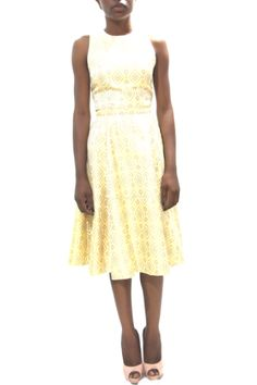 YELLOW JACQUARD TOP & FLARED SKIRT #grey #africanfashion #NigerianFashion #BuyNigerian   Available at http://lespacebylpm.com/