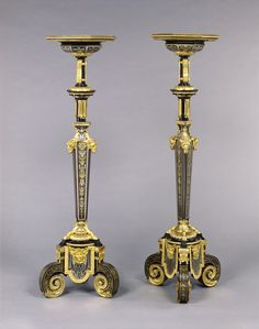 Pair of Gueridons; Attributed to André-Charles Boulle (French, 1642 - 1732, master before 1666); about 1680; Oak veneered with ebony, tortoise shell, blue painted horn, brass, and pewter, and set with gilt bronze mounts; 87.DA.5