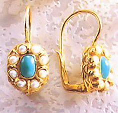 Cecily Cardew Turqoise Pearl Silver Earrings exact replica of anceint Rome design