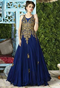 Blue and golden anarkali dress