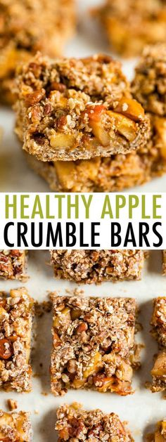 Healthy apple crumble bars made with wholesome ingredients and fresh apples. Youll love the cinnamon apple filling paired with the oatmeal crumble crust and topping! Fall Recipes, Whole Food Recipes, Dessert Recipes, Cooking Recipes, Drink Recipes, Kid Recipes, Apple Recipes, Sweet Recipes, Gluten Free Baking