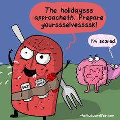 holidays comics thanksgiving heart and brain The Awkward Yeti