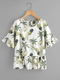 To find out about the Random Jungle Print Frill Trim Blouse at SHEIN, part of our latest Blouses ready to shop online today! Teen Fashion Outfits, African Fashion Dresses, Dress Sewing Patterns, Clothing Patterns, Clothing Hacks, Blouse Outfit, Cute Casual Outfits, Blouse Styles, Skirt Outfits
