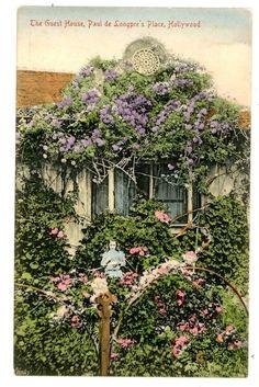Hollywood CA - GUEST HOUSE AT PAUL de LONGPRE'S ESTATE-Handcolored Postcard
