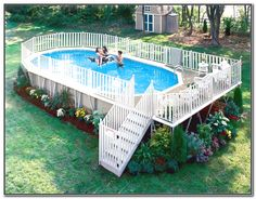 above ground swimming pools with decks - Google Search