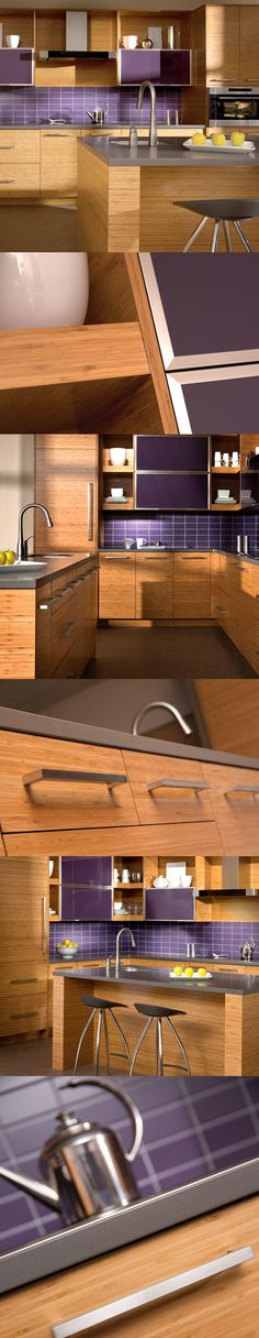 Contemporary Kitchen Design with Bamboo Cabinets - Subway Tiles