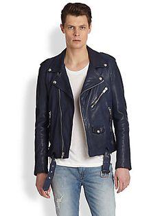BLK DNM Slim-Fit Leather Biker Jacket