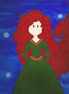 Cute idea for a girls room :) Maddie is fabulous at these cute pictures. Merida by maddierosedoodles on Etsy, $15.00