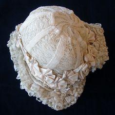Maria Niforos - Fine Antique Lace, Linens & Textiles : Antique Christening Gowns & Children's Items # CI-116 Charming 19th C. Valencienne Bonnet w/ Ribbons