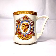 Vintage Tams Ware mug presented by the Corporation of Coventry to commemorate the 1937 Coronation of King George VI.