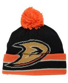 Ccm Anaheim Ducks Oversized Logo Cuffed Pom Knit Hat - Black/Orange Adjustable