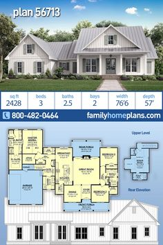Three Bedroom Traditional Farmhouse Home Plan has 380 sq ft Bonus Room Over Garage Traditional Farmhouse design featuring almost 2500 sq ft of living. One Level House Plans, Best House Plans, Dream House Plans, Modern House Plans, Small House Plans, House Floor Plans, Craftsman Style House Plans, Ranch House Plans, Modern Farmhouse Plans