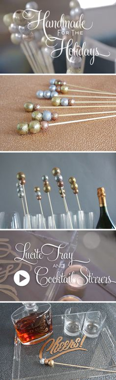 The perfect New Years DIY project. Tray and Cocktail Stirrers by @Darby Smart