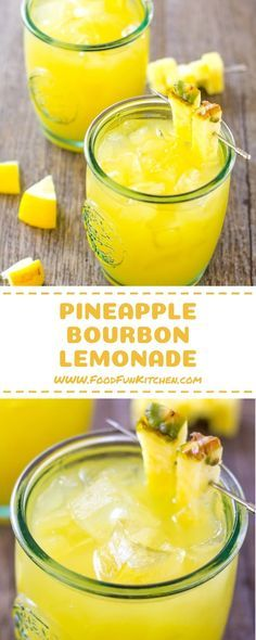 Pineapple Bourbon Lemonade – 3 ingredient Tropical Cocktail – My Like&Share Pineapple Bourbon Lemonade – 3 ingredient Tropical Cocktail – My Like&Share - Fresh Drinks Bar Drinks, Cocktail Drinks, Yummy Drinks, Healthy Drinks, Cocktail Recipes, Alcoholic Drinks, Beverages, Drink Recipes, Drinks With Bourbon