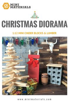 Mini Materials 25 Mini DIYs of Christmas | How to: Build your own Christmas Diorama! This fun DIY will show you how to create this cute little diorama to add to your Christmas village. Shop through Mini Materials website and find all of the fun miniature construction and building supplies: miniature cinder blocks, miniature lumber, tiny wine barrels and so much more!!!