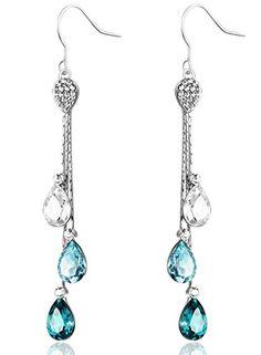 nice Neoglory Jewellery Swarovski Eléments Cristal Long Pendentif Boucles D'Oreilles Bijoux Femme Bleu