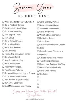 Here is the ultimate senior year bucket list printable for Things to do in senior year and tips what to get done before graduation. Here is the senior year of High School bucket list. By clicking, you can get access to my freebie library where t High School Quotes, High School Hacks, Senior Year Of High School, High School Seniors, Freshman High School Outfits, High School Years, Middle School, Senior Bucket List, High School Bucket List
