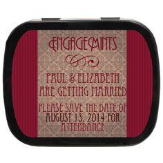 Victorian Personalized Engagement Mint Tins #engaged #weddingfavors #savethedate