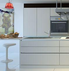 Perfil de aluminio que permite eliminar las jaladeras de puertas y cajones, generando una vista de continuidad al mueble