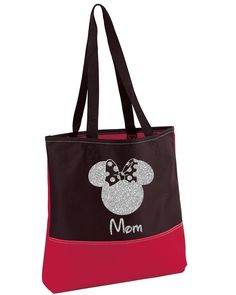 Minnie Mouse Bag,Silver Glitter,Heavy tote bag,Disney Bag,Minnie Mouse Tote Bag,Minnie Mouse,Disney Tote,Convention Tote,Minnie Tote