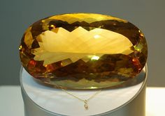 "Citrine is one of November's official birthstones, and the sunny yellow stone you're looking at is the world's largest faceted citrine — an oval-cut marvel at 20,200 carats (that's 8.8 pounds!). To better grasp the enormity of the ""Malaga,"" see the citrine pendant sharing the display with the massive gemstone. More at our blog. Click link, LIKE and SHARE."