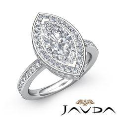 Gorgeous Marquise Diamond Halo Pave Engagement Ring EGL E VS2 Platinum 950 1 9ct | eBay