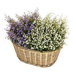 Cesto con flores gypsophila artificial. http://www.lallimona.com/online/flores-y-plantas-artificiales/