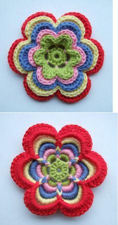 beautiful crochet flower! - full tutorial at: http://solgrim.blogspot.com.es/2011/06/hekleblomst.html