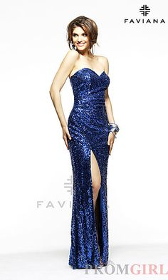 Faviana 7111 Ashley Benson Sequin Covered Dress at PromGirl.com