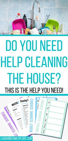 House cleaning printables to help you get into a cleaning routine that is effective, helpful, and something you can stick with! Weekly House Cleaning, Household Cleaning Schedule, Monthly Cleaning Schedule, Cleaning Checklist Printable, House Cleaning Checklist, Cleaning Hacks, Cleaning Crew, Office Cleaning, Cleaning Services
