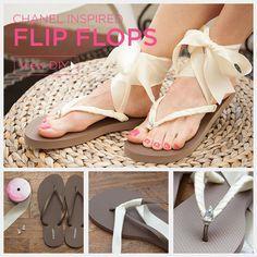 diy flip flop - Chanel Inspired Flip Flops by Trinkets in Bloom Ribbon Flip Flops, Diy Lace Flip Flops, Diy Maxi Skirt, Shoe Makeover, Best Flip Flops, Diy Kleidung, Ankle Wrap Sandals, Crochet Shoes, Summer Diy
