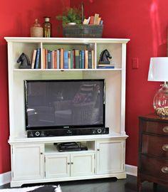 Corner TV cabinet ballard designs reston corner media console with hutch Corner Media Cabinet, Corner Tv Console, Corner Tv Cabinets, Corner Tv Stands, Corner Unit, Diy Cabinets, Armoire Tv, Diy Tv Stand, Ballard Designs