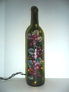 Lighted wine bottle - grapes