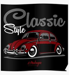 Classic Style. VW Beetle (red) Poster