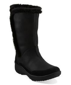Durable, rugged and stylish, this waterproof winter boot from the Clarks WAVEWALK™ collection features cozy faux shearling lining, an innovative curved rocker sole and a removable OrthoLite® footbed for cushioning from heel to toe. Carrying the Seal of Acceptance from the American Podiatric Medical Association, this pair assures quality comfort.